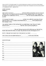 john lennon biography worksheet english worksheets john lennon 180 s biography