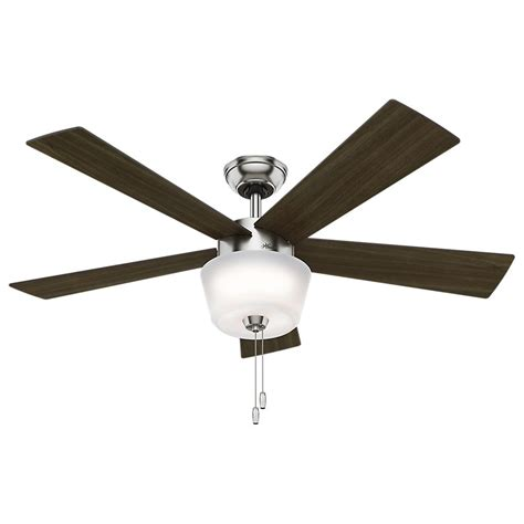 brushed nickel ceiling fan light kit hunter hembree 52 in indoor brushed nickel ceiling fan