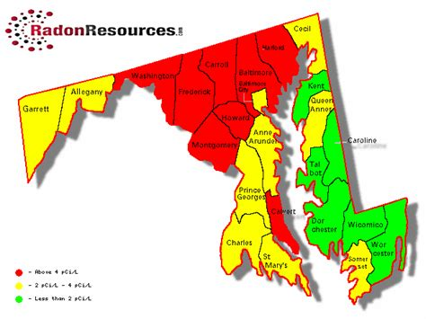 maryland map testing maryland radon mitigation testing levels radonresources