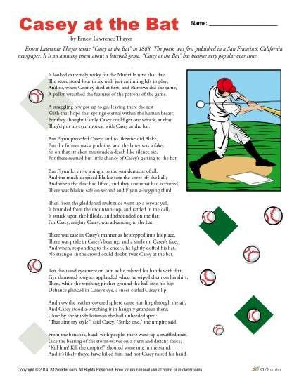 Printable Version Of Casey At The Bat   casey at the bat reading comprehension set reading