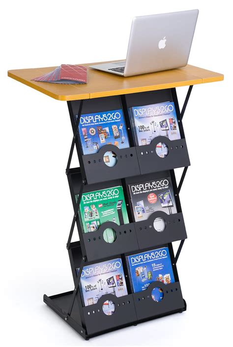 6 table top folding magazine rack with tabletop 6 literature pockets