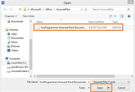 Recover Word Document 2010