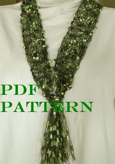 pattern ladder yarn scarf pattern for knit necklace scarf of ladder ribbon yarn with