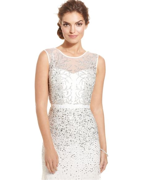 beaded white gown lyst papell sleeveless beaded illusion gown in