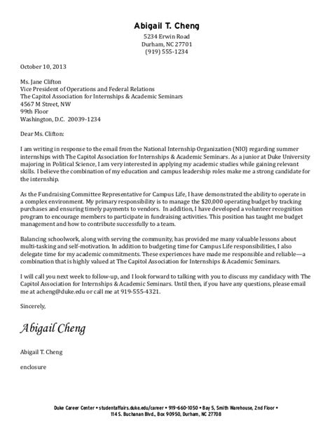 cover letter gettysburg college cover letter exles for college students cover