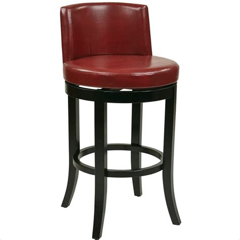 swivel bar stools leather office star metro 30 quot swivel eco leather crimson red bar