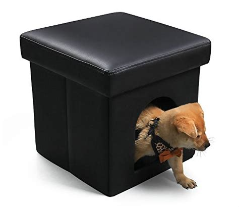 dog house leather dekinmax pet bed ottoman cat condo with leather black