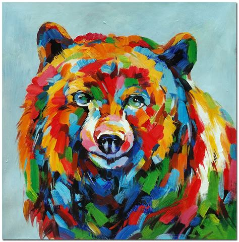 libro drawing and painting animals hand painted impressionist bear oil painting 20x20 quot modern colorfu animal art ebay