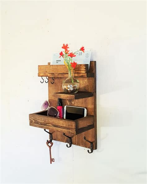 sale entryway mail key reclaimed wood shelf