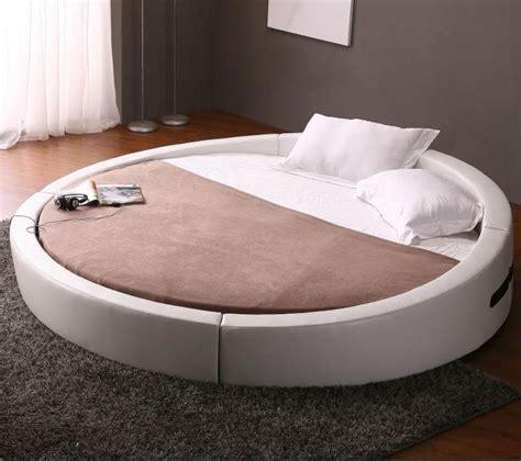 round bed mattress round opus white modern leather match platform bed w