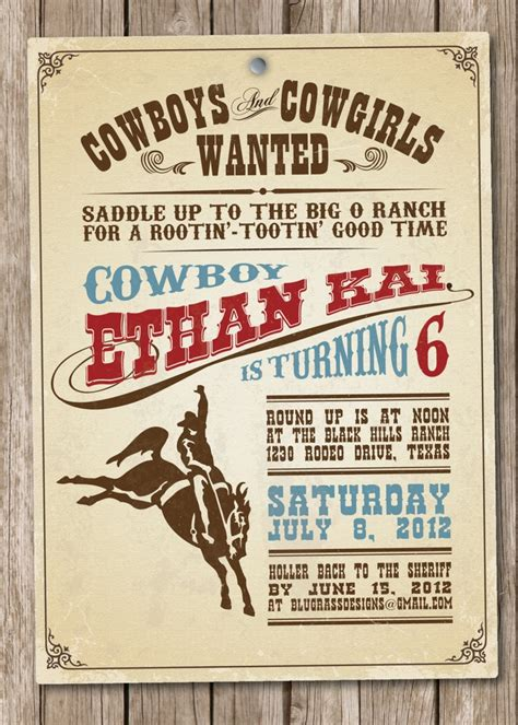 free templates for cowboy invitations custom birthday party invitation by mulberry paperie