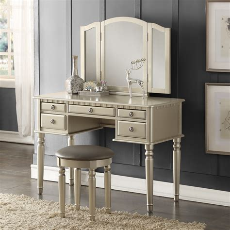 bedroom vanity dresser tri folding mirror vanity set makeup table dresser w bench 5 drawer silver wood ebay