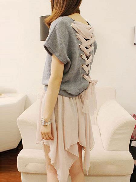 lace up back shirt two pieces back lace up woolen t shirts chiffon
