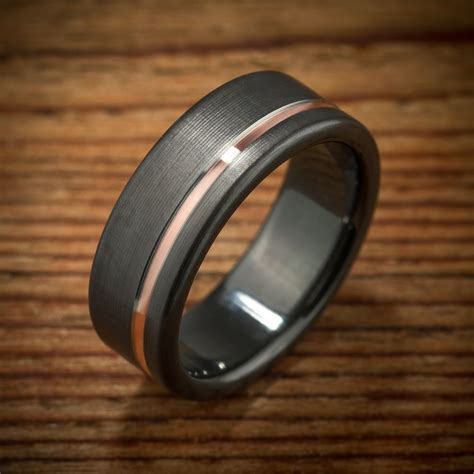 Eheringe Rosegold Schwarz buy a custom made black zirconium gold wedding band