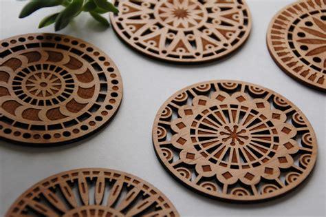 geometric wood cut coasters laser cut from