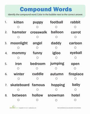 compound words quiz worksheet education