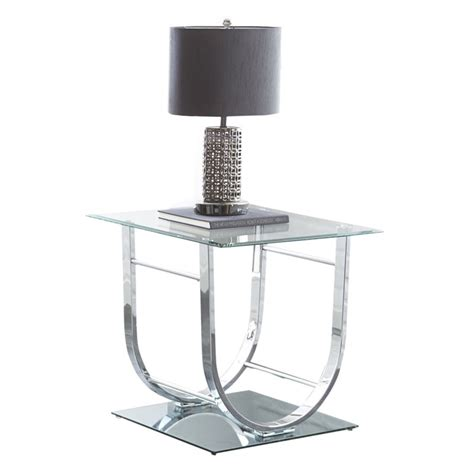 silver and glass end tables steve silver natalie square glass top end table in chrome