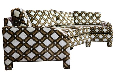 3 sided sectional sofa brown and white geometric lattice 1970s angled three sided