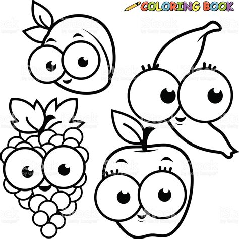 imagenes de frutas faciles para dibujar libro para colorear frutas conjunto de dibujos animados de