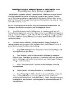 Owner Operator Description by Independent Contractor Agreement Between An Owner Operator Truck Driver Contract Agreement