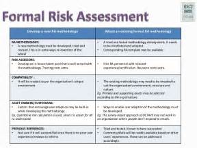 formal risk assessment template formal risk assessment workshop