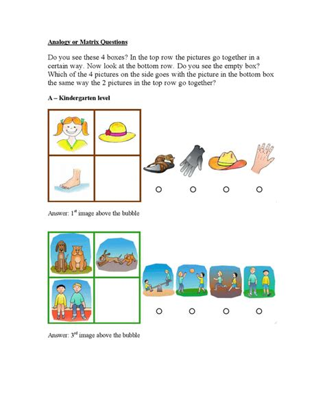 Gifted Test Sample Questions Kindergarten Through 3rd
