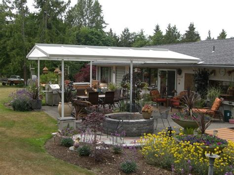 low pitch gable style patio cover farmhouse patio