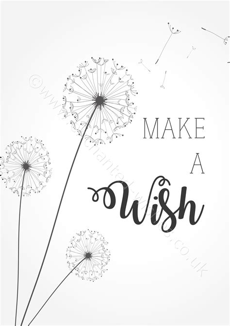 how to make wishing cards make a wish quote typography dandelion print