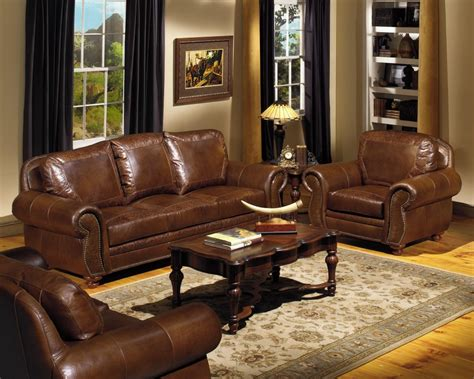 rustic leather sofa set furnitureluxurious full grain leather sofa set for awesome