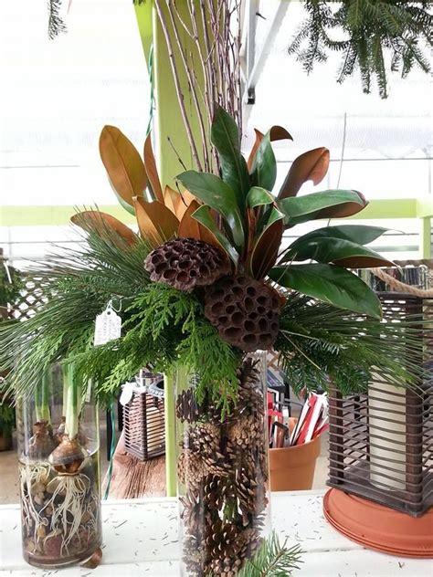 rustic christmas vase  magnolia birch lotus  evergreens fill  glass vase  pine
