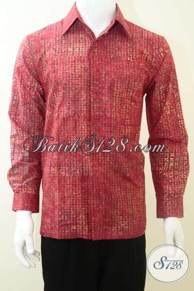 baju batik laki laki lengan panjang warna merah keren