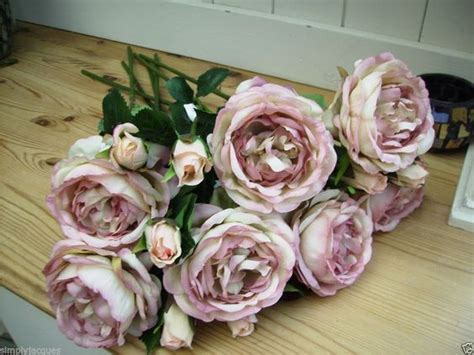 Artificial Shabby Roses bunch of 6 shabby vintage chic antique pink roses