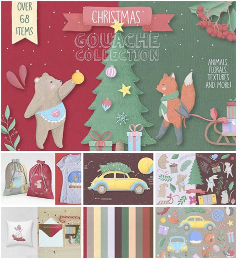 christmas gouache collection free download