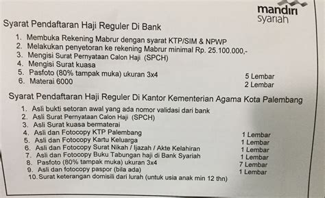 syarat membuka rekening mandiri platinum mengurus pendaftaran haji ternyata mudah