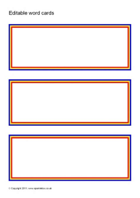 editable card templates free editable primary classroom flash cards sparklebox