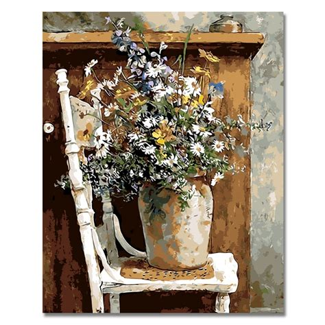 flowers vase  chair picture painting  numbers modern