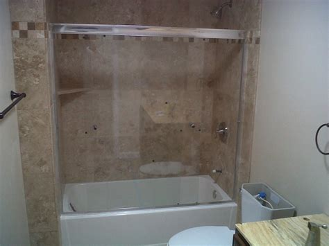bathroom remodel shower tub combo done in travertine yelp
