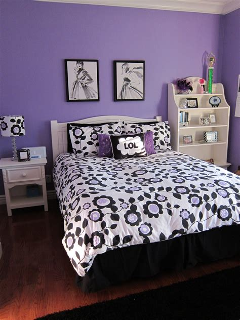 purple black and white bedroom a teen bedroom makeover lori s favorite things