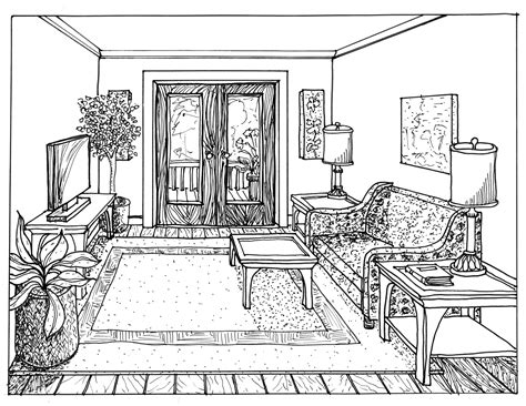 Drawing Living Room - floor plan and one point perspective line drawing