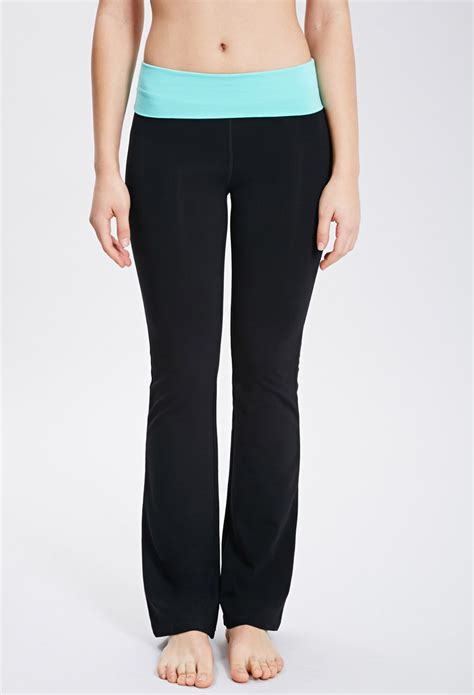 fold over yoga pants sewing pattern lyst forever 21 active fold over waist yoga pants in black