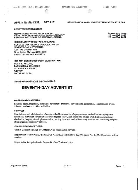 newsbreak seventh day adventist church trademark alert