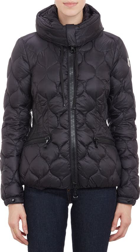 moncler honeycomb pattern quilted hooded gres jacket black