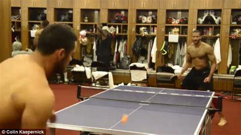 ping locker room nfl hopeful jaryd hayne takes on 49ers colin kaepernick at ping pong daily mail