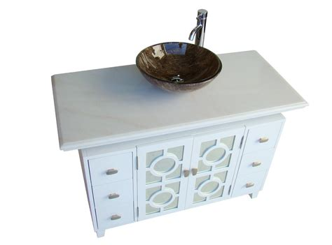 Adelina 48 Inch White Finish Vessel Sink Bathroom Vanity Bathroom Vanity For Vessel Sink