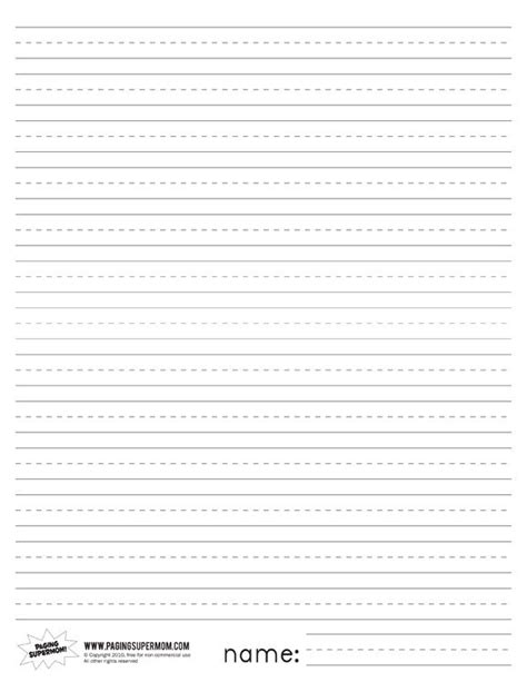 printable lined paper with name printable primary lined paper paging supermom favorite