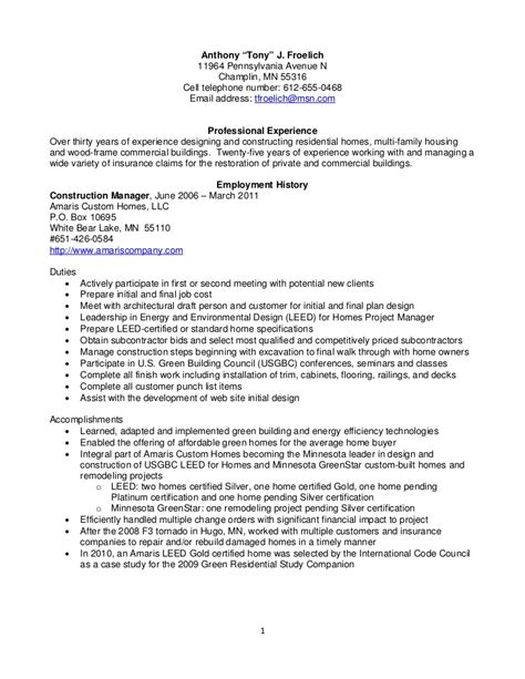 construction project management resume sles resume froelich anthony construction management