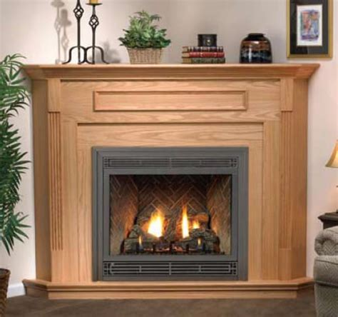 wood mantel and surround for corner gas fireplace for