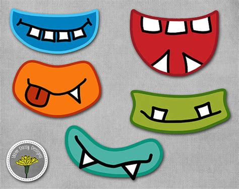 free printable monster eyes and mouth monster photo props printable instant download monster