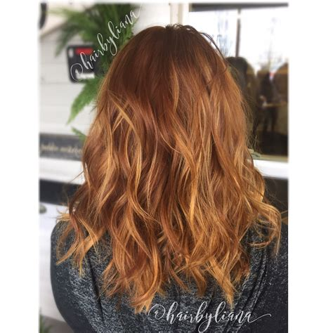 medium copper blonde hair color copper hair with golden blonde balayage highlights