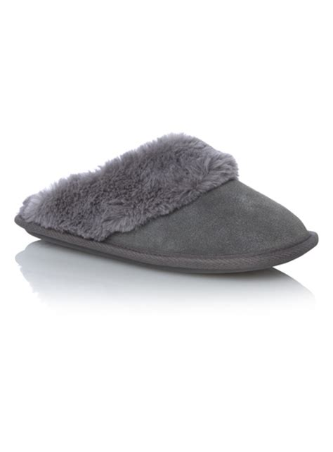 sainsburys childrens slippers womens grey suede mule slippers tu clothing